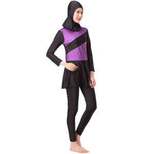Women Color Block Splice Muslim Swimsuit Swim Wear Sport Burkinis Islamic Hijab Full Coverage Beach Bikini Sets VKYY1021