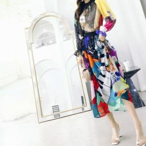 Delocah  Women Spring Summer Suits Runway Fashion Designer Full Sleeve Gorgeous Ruffles Character Print Skirt Two Pieces Set