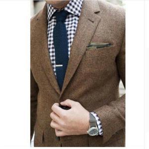 Mens Tweed Jacket Custom Made Brown Tweed Coat,Bespoke Tweed Mens Coat Herringbone Coats,Blazer Masculino,Herringbone Coat Men