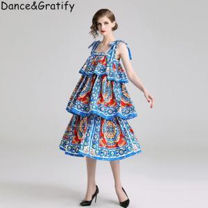 New 2019 Summer Brand Designer Runway Dress Women Vintage Print Spaghetti Strap Loose Cascading Ruffle Big Size Casual Dresses