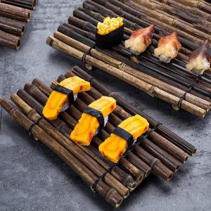 Bamboo Tray Sushi Plate Platos Cup Mat Tea Cup Coaster Japanese Cuisine Plate Handicraft Decoration Creative Sushi Tray 2pcs/set