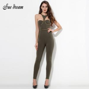 2020 New Summer Women Rompers Bodysuit Sexy O- Neck Hollow Out Sleeveless Sequined Full Length Celebrity Party Bodycon Jumpsuit