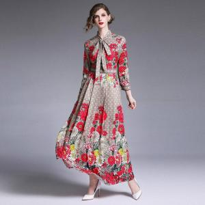 2019 Spring Summer Fall Runway Rose Floral Print Collar Ribbon Tie Neck Long Sleeve Women Party Casual Empire Waist Maxi Dress
