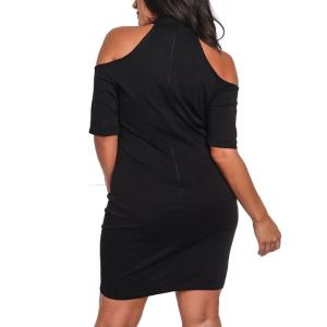Office Mini Dresses for Elegant Ladies Rose Embroidery Black Bodycon Dress Cold Shoulder Party Dresses Big Sizes Woman R80495