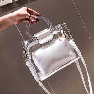 Woman Bag Handbag 2PC Jelly Transparent Messenger 2019 New Portable Shoulder bolso mujer torebka damska shopper sac main femme