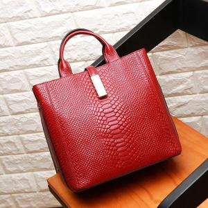 Luxury High Quality Genuine Leather Women's Bag Crocodile-head Embossing Cowhide Leather Handbag Large Capacity Shoulder Bag