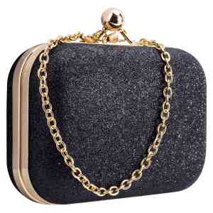 FGGS Women's bling evening party handbag Wedding ball clutch bag with chain Mini bag Birthday gift Valentine's Day Black