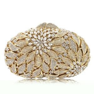 Gold Metal Leaves White Crystals Evening Clutch Bags Luxury Women Wedding Party Purse Ball Handbags Rhinestone Mini Minaudiere
