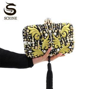Luxury Pearl Beads Diamonds Gold Embroidery Clutch Bag Black Tassels Crystal Evening Bag Bridal Wedding Handbag with Chain Y636