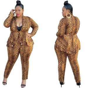 Lady's Sexy Deep V-neck Leopard Printing Suits 2020 Autumn Latest Women Full Sleeve Coats High Waist Pencil Pants Two Piece Sets