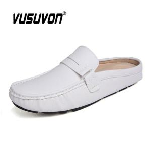 Genuine Cow Men Leather Slippers Outdoor Non-Slip Home Fashion Casual Slides Shoes Rubber Soles Spring Summer Penny Loafers
