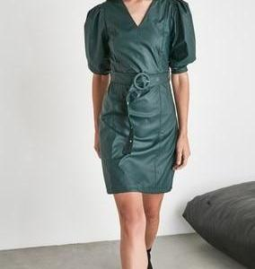 Oil Green Belted V neck Puff Sleeve Faux Leather Dress new season women dress