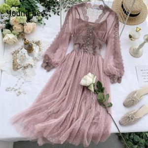 Young Gee Lace Floral Dress Women V Neck Long Sleeves Midi Female Polka Dot Pearls Single Breasted Sweet Mesh Dresses ropa mujer
