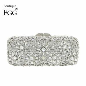 Boutique De FGG Dazzling Flower Women Silver Crystal Clutch Purses and Handbags Ladies Evening Bags Wedding Party Minaudiere Bag