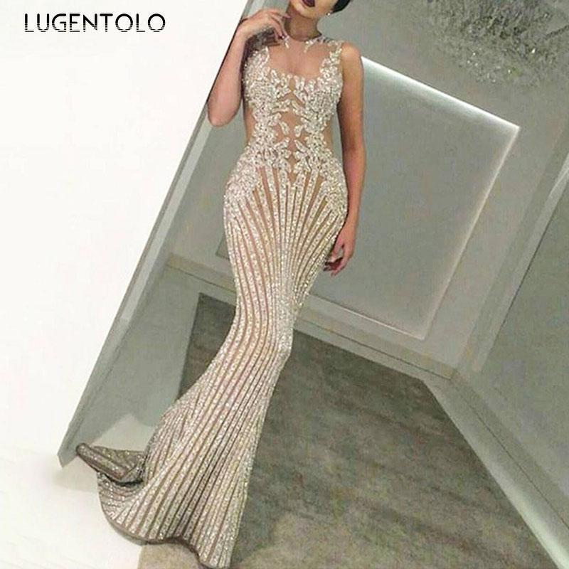 Lugentolo Women's Sexy Dress Summer Sequins Lace Dance Perspective Party Sleeveless Slim-fit Lady Dinner Maxi Bodycon Dresses