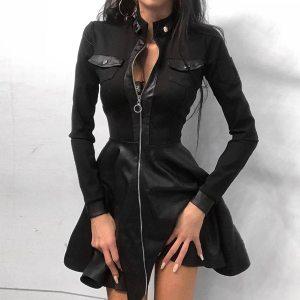 2020 Newest Women Autumn Fashion Dress Lace Long Sleeve Zipper Pocket Large Hem Faux Leather Mini Dress Plus Size For Female