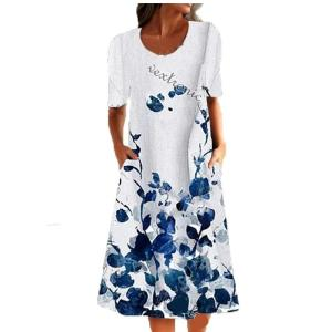 New Women Summer Fashion Short  Sleeve  Loose  Pockets  Printed Floral Plus Size   Casual  Party Versatile Dress