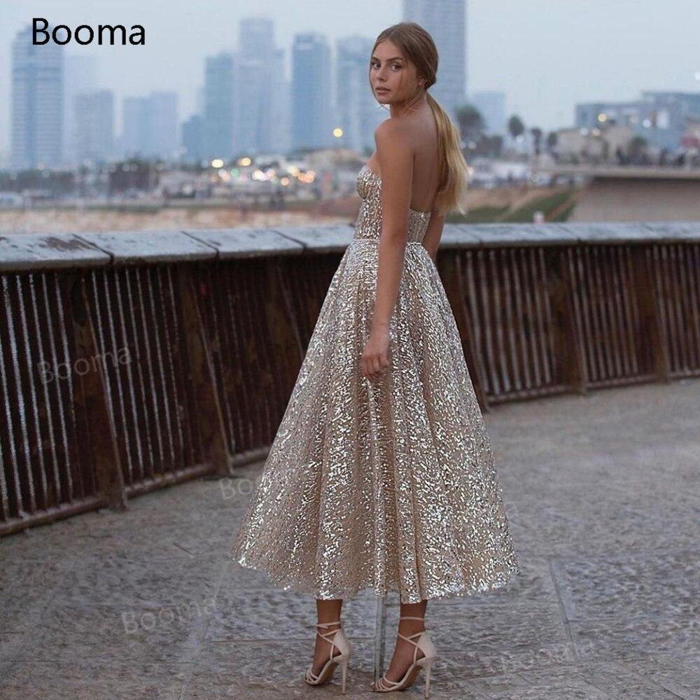 Booma Glitter Sequin Lace Prom Dresses Sweetheart A-Line Short Prom Gowns Open Back Sleeveless Tea-Length Formal Party Gowns