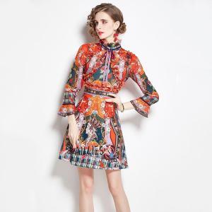 2021 Summer Sweet Girls Retro Floral Red Dress Women Flare Sleeve Stand Collar Bow Ribbon Ruffles Flower Print Princess Dresses