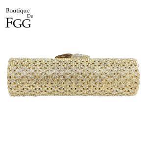 Boutique De FGG Elegant Barrel Round Women Small Evening Bags Crystal Clutch Purses Wedding Rhinestone Handbags Bridal Bags