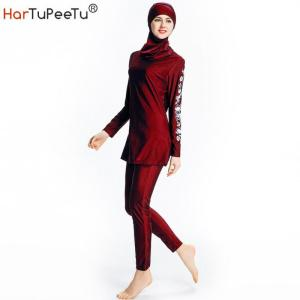Anti-UV Conservative Swimwear Muslim Swimsuit Islamic Print Full Blouse Moderate Beachwear Burkini Surfwear Women Beach Clothing