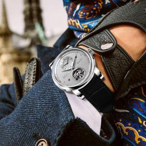 BORMAN automatic men watch luxury brand mechanical self wind wrist watches leather band dress relogio masculino dual time zone