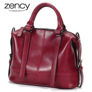 Zency New Fashion 100% Genuine Leather Elegant Women Handbag High Quality Lady Messenger Bag Black Brown Female Tote Bags