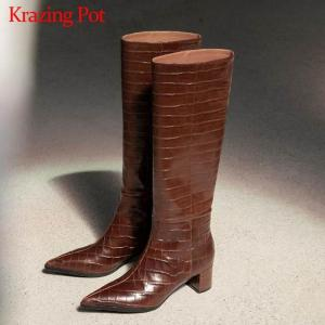 Krazing Pot genuine leather pointed toe gingham prints streetwear riding boots keep warm gorgeous nightclub knee high boots L59