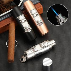 LUBINSKI Luxury Metal Cigar Lighter Butane Portable Gas Torch Lighter Removeable Cigar Holder With Punch Cutting