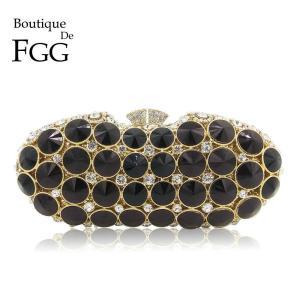Boutique De FGG Elegant Black Jet Diamond Evening Clutches Bag Women Fashion Wedding Party Handbag Purse Bridal Crystal Clutch