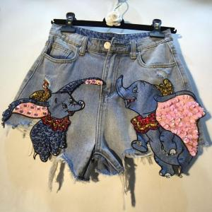 plus size 5XL!elephant embroidery denim shorts WOMEN summer hole bf loose wide leg jeans shorts