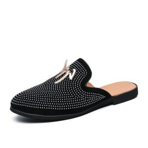 Luxury Summer New Cool Slippers for Male Gold Black Loafers Men Half Shoes Anti-slip Men Casual Shoes Flats Slippers Mules