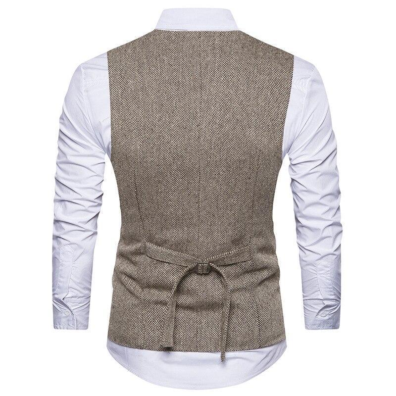 Mens Vest Slim Fit Sleeveless Wool Tweed Waistcoat Men Double Breasted Herringbone Tweed Vest Men Business Casual Gilet Men XXL