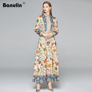 2020 Autumn Runway Long Dresses Women's Long Sleeve Gorgeous Flower Print Buttons up Sashes Holidays Dress Robe Longue