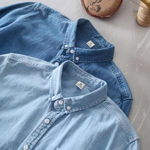 New Classic casual blue Denim shirt spring autumn Comfortable thin solid tops for men clothing long sleeve soft jeans shirts