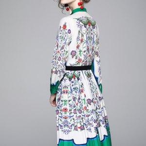 2020 Spring Summer Fall Runway 2pcs Women Set Retro Floral Print O Neck Long Sleeve Top Shirt Blouse Mini Skirt Suits Outfits