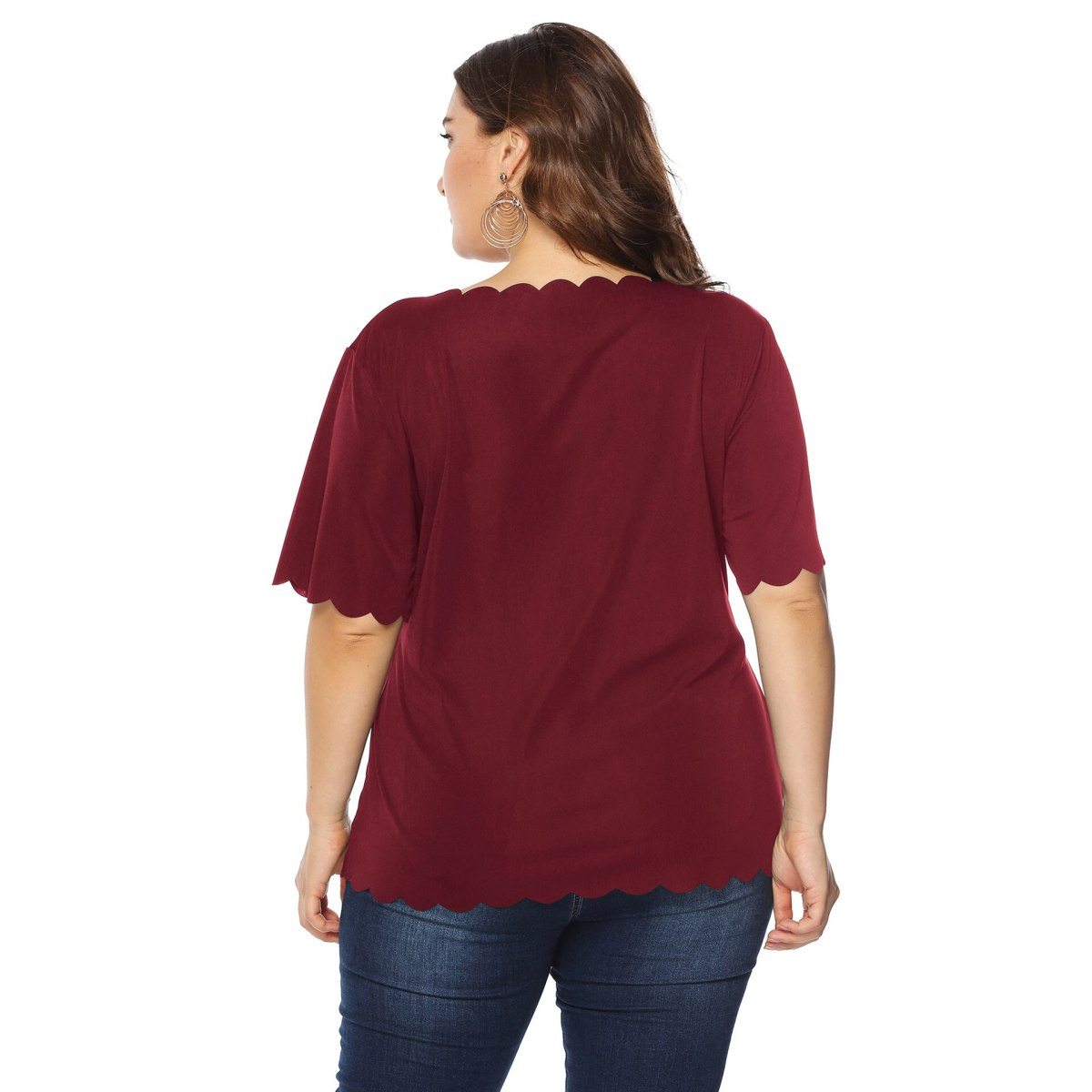 Plus Size Casual Blouse Women 2020 Fashion O Neck Short Sleeve Red Lip Sequined Elegant Blouse Ladies Tunic Tops