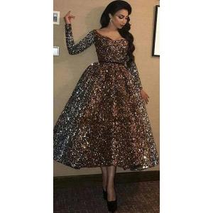 Fashion Scoop Neck Ball Neck Evening Party Dresses Long Sleeve Sequined Formal Prom Gowns Tea Length Elegant robe de soiree 2020