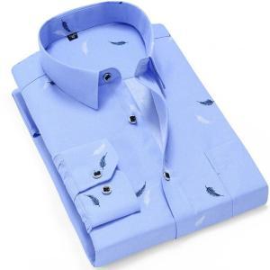 NEW Men Fashion Casual Long Sleeved Printed Shirt Slim Fit Male Social Business Dress Shirt Brand Men Clothing Soft Comfortable
