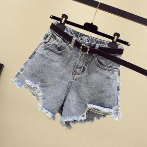 Women Summer Shorts New Style Ripped Hole Washed Denim Shorts High Waist Casual Fashion Irregular Wide-leg Jean Shorts Plus Size