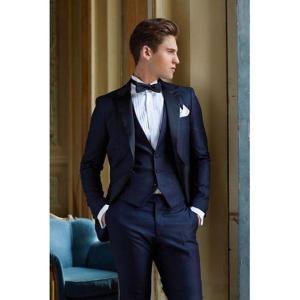New Men's Suit Smolking Noivo Terno Slim Fit Easculino Evening Suits For Men Navy blue groom formal (Jacket+Pants+Vest)