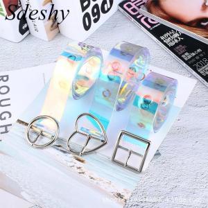 Fashion Transparent Women Belt Laser Clear Waist Belt Metal Pin Buckle Waist Belts for Ladies Girl Jeans Dress Waistband