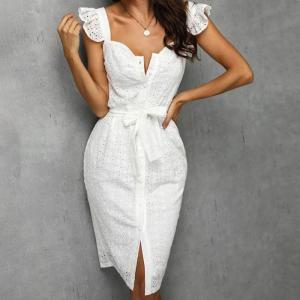 Women White Dress Lace Up Sexy Midi Vestidos Ruffles Sleeveless Bodycon Female Dresses 2021 Buttons Belt Elegant Ladies Clothes