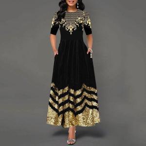 Golden Floral Print Patchwork Black Long Dresses For Women 2021 Fashion New Slim Maxi Dress Vintage Elegant Party Vestidos Robes