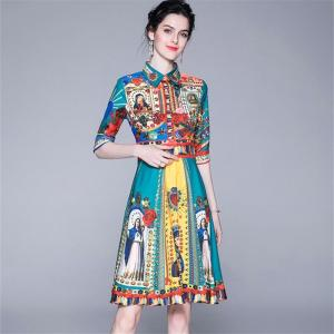 Quality Fashion Designer Runway Dress 2019 Summer Women's Short Sleeve Elegant Floral Print Bow Casual Dress plaid