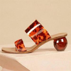 Summer Clear PVC Square Toe Ladies Shoes Transparent Crystal Round Ball Heel Slippers Women Leopard Grain Jelly Sandals