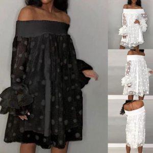 Female Off Shoulder Multi-layer Perspective Mesh Dress hot Woman Polka Dot Jacquard Leaf Sleeve Loose dress vestido verano mujer