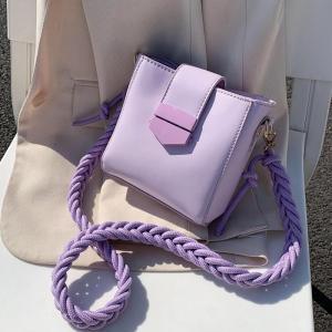 Hemp rope shoulder strap PU Leather Sac A Main Femme purple Crossbody Bags For Women 2020 Summer Small Shoulder Handbags Female