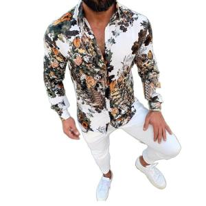 New Summer Men's Lapel Long Sleeve Shirt for Man Fashion Flower 3D-Printed Slim Fit Single Breasted Casual Shirt Men's Clothing