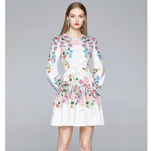 Autumn Fashion Runway Elegant Flower Dress Women's Long Lantern Sleeve Vintage Floral Print Belted High Waist Short Dress